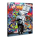 Grafitti art decor Einstein wall art painting on canvas contemporary art for living room high definition giclee prints artwork for living room bedroom decoration. This is a good choice for gifts for relatives and friends.is is a good choice for gifts...