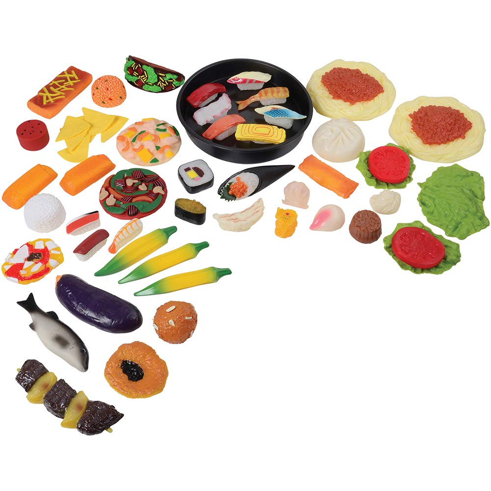 Constructive Playthings 56 pc. Realistic World Food Set Including Sushi, Dim Sum, Hispanic, Asian, Italian and African Foods for Ages 3 Years and Up