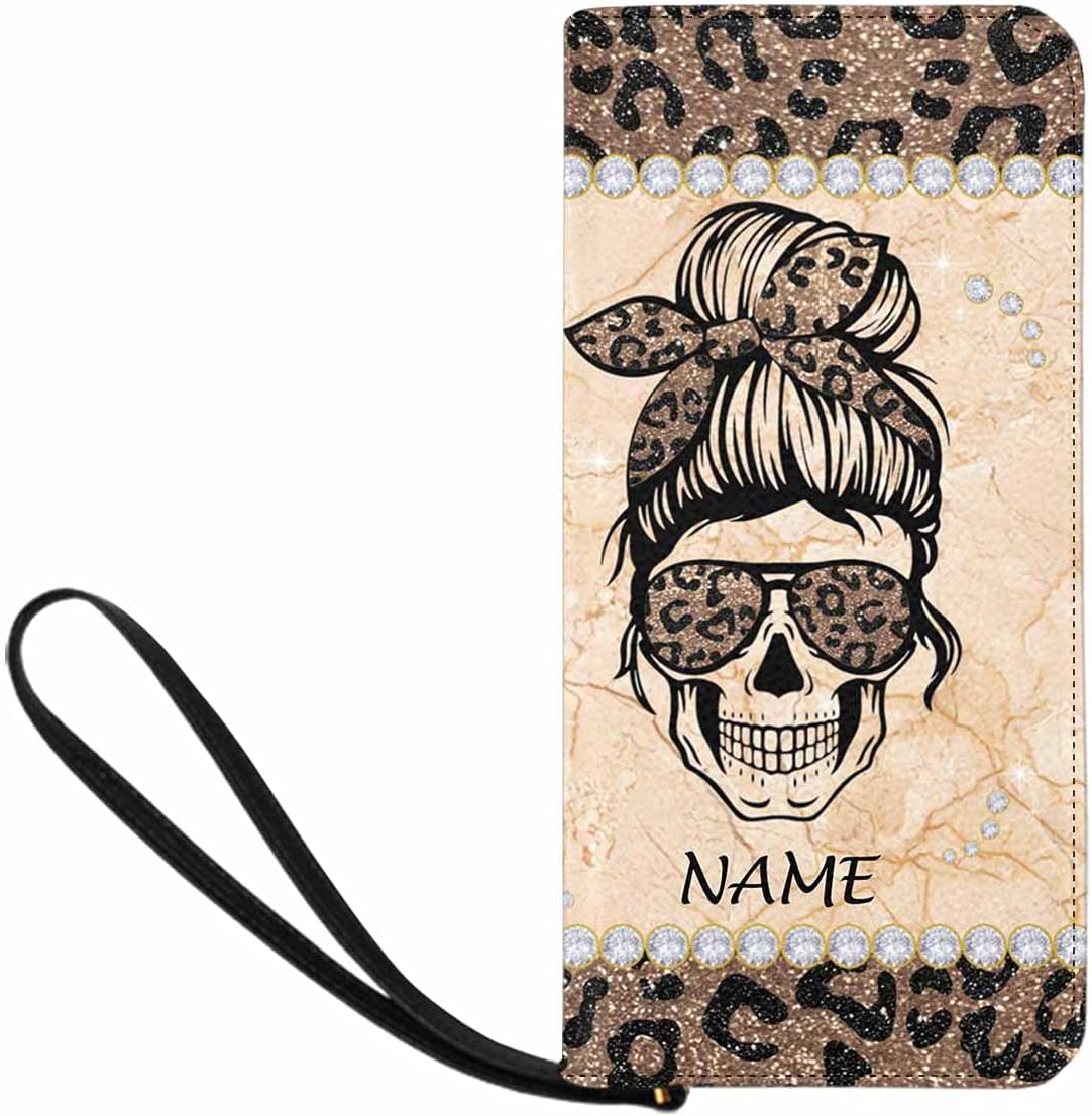 Personalized Mom's Gift Clutch Wristlet with Strap, Skull With Glasses Lightweight Wristlet Wallet for Women