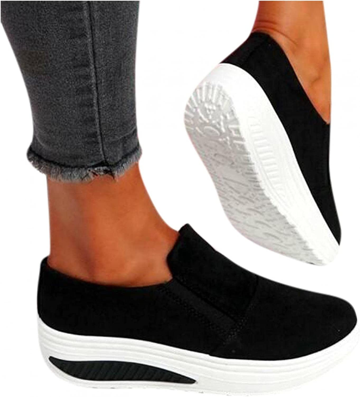 Hbeylia Platform Slip On Loafers Fashion Sneakers For Women Comfortable Chunky Bottom Heels Low Top Walking Shoes Breathable Non Slip Work Nurse Sport Shoes For Ladies