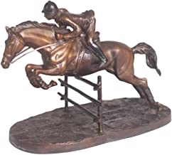 World of American Home Decor Warehouse Jumper on Horse 2-Tone Patina Bronze Statue, 13 by 7 by 11-Inch