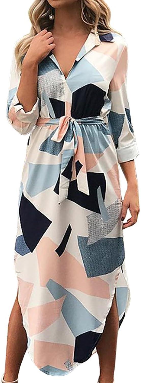 GAMISOTE Womens VNeck Dresses Casual Summer Floral Print Midi Dress Sleeves
