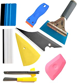 9PCS Vehicle Glass Protective Film Car Window Wrapping Tint Vinyl Installing Tool: 4 Inch Felt Squeegee, Retractable 9mm Utility Knife and Snap-off Blades,Film Cutters