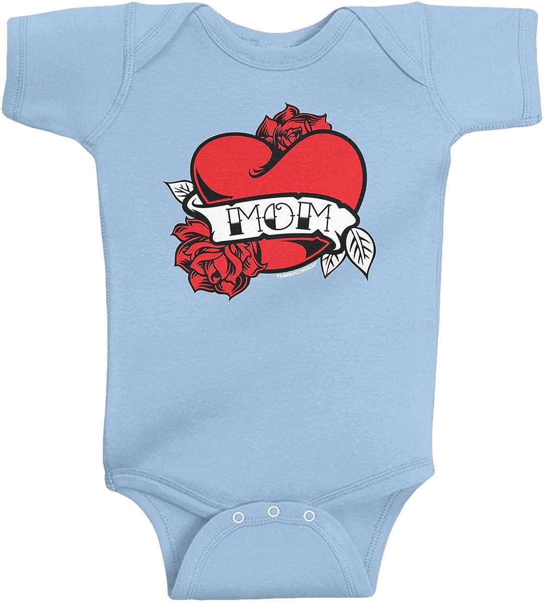 Threadrock Baby Boys' Mom Heart Tattoo Infant Bodysuit