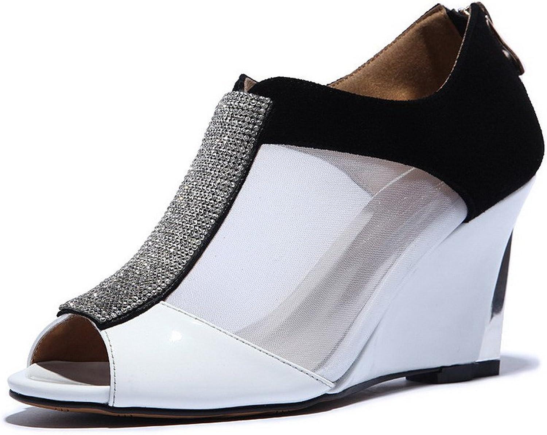 AmoonyFashion Women's Zipper Peep Toe High Heels Assorted color Sandals