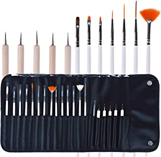 TinaWood 20PCS Professional Nail Art Brush Set Liner Pens Striping Brushes Tool Kit For Short Strokes, Details, Blending, ...