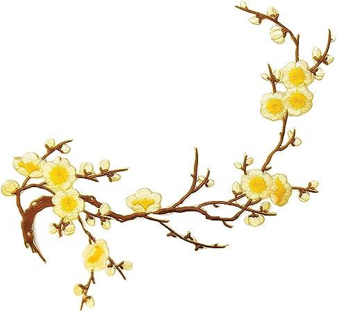 Yellow Seed Flower Patch Flower Applique Branch Floral Patch  Sewing Patch Red Applique Sew On Patch Dress Embellishment