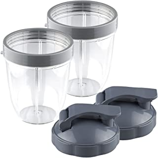 Replacement NutriBullet 18 Oz Cup Set with Flip Top To Go Lid - For Nutri Bullet 600W 900W 2-Pack