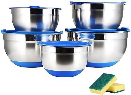 Juning Edelstahl Schüssel Set mit Platics Deckel, 5-Teilig mit Rutschfeste Silikonböden, Messskala, Multifunktional als Rührschüssel, Salatschüssel preisvergleich bei geschirr-verleih.eu