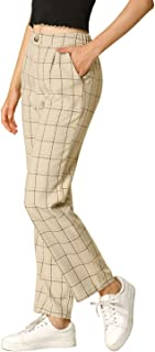 Allegra K Women's Plaid Trousers Pockets Straight Leg Pants