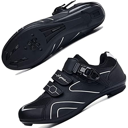 Mens Cycling Shoes for Men Road Bike Riding Shoes Buckle Breathable Cleat Compatible SPD Compatible for Indoor Outdoor Riding Racing