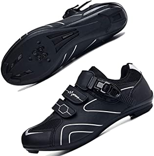 Mens Cycling Shoes for Men Road Bike Riding Shoes Buckle Breathable Cleat Compatible SPD Compatible for Indoor Outdoor Rid...