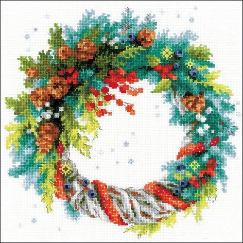 RIOLIS 1603 - Wreath with Blue Stitch Spruce Counted Cross Kit Complete Free Shipping Super intense SALE