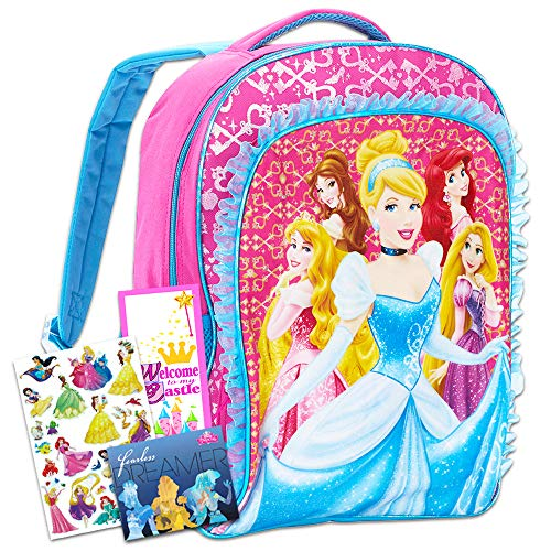 Disney Princess Backpack for Girls w Stickers (Disney Princess School Supplies)