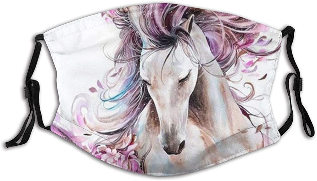 The Horse Print Made in USA Antidust Balaclava Bandanas Face Mask Mouth Protection Cotton with 2 Filters for Cycling Travel Outdoors