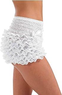 fun shack Women's White Ruffle Pants Adult Costume, White Ruffle Pants