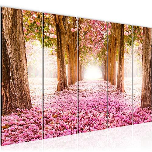 Bilder Wald Landschaft Wandbild 200 x 80 cm Vlies - Leinwand Bild XXL Format Wandbilder Wohnzimmer Wohnung Deko Kunstdrucke Rosa 5 Teilig - MADE IN GERMANY - Fertig zum Aufhängen 605655a