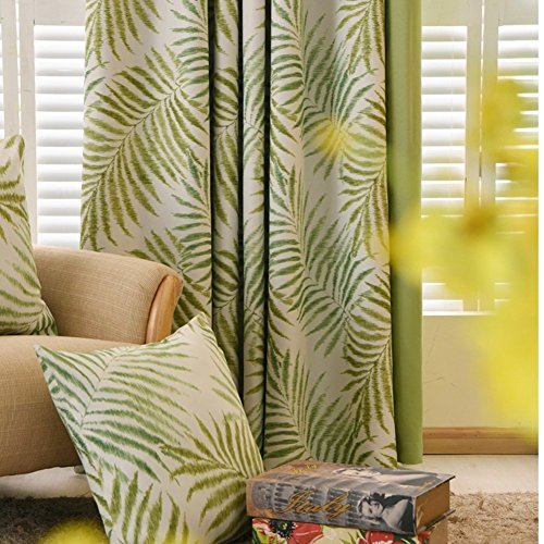 1 Pair Pastoral Palm Tree Blackout Curtains,Tropic Window Draperies,Nice Room Decor,Green Leaves, 2 x 54x84 Inch