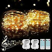 [2 Pack] 12M Lichterkette Batterie, PHYSEN 120er LED Lichterkette Kupferdraht Wasserdicht mit Fernbedienung, Stimmungslichterkette mit 12 Modi für Weihnachten, Garten, Party, Innen und Außen-Warmweiß