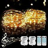 [2 Pack] LED Luces de Cadena Pilas, PHYSEN 12M 120 LED Guirnaldas Luminosas con Control Remoto, Impermeable luces Interior y exterior para Navidad, Habitacion, Fiesta, Jardín, Bodas, Césped