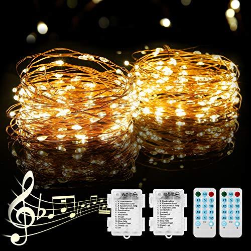 [2 Pack]12M Lichterkette Batterie, PHYSEN 120er LED Lichterkette Kupferdraht Wasserdicht mit Fernbedienung, Stimmungslichterkette mit 12 Modi für Weihnachten, Garten, Party, Innen und Außen-Warmweiß