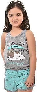 Baby Doll Ayron Fitness Bull Dog Azul Infantil Feminino Curto