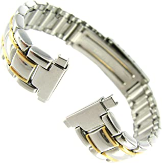 12-16mm Milano Stainless Steel Two Tone Shiny Deployment Buckle Watch Band