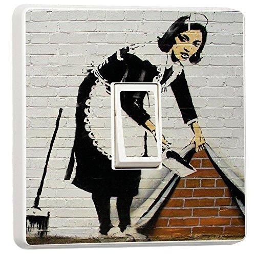 Banksy Graffiti Art Maid in London Single Light Switch Cover Vinyl Sticker
