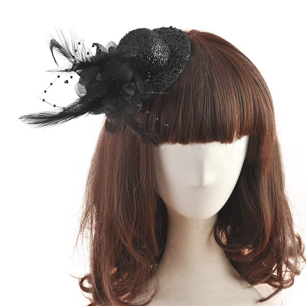 Shinning Fascinator Hats Clips Mini Top Hat Dancing Party Hair Wear Hat Ribbon Flowers Feather Hats Sequined Costume Headwear Brithday Party Decorative Accessories for kids Women Girls-Black