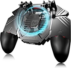 SHANXIAN Pubg Mobile Controller 6 Fingers Operation, Gaming Grip with Portable Charger Cooling Fan, Game Trigger Joystick for 4.7-6.5