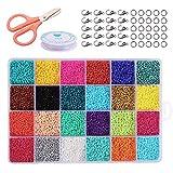 ZWOOS 24000 Piezas Cuentas de Colores 2mm ,Cuentas de Colores para Collares con caja, Mini Cuentas y Abalorios Cristal para DIY Pulseras Collares Bisutería (24 Colores) (2mm)