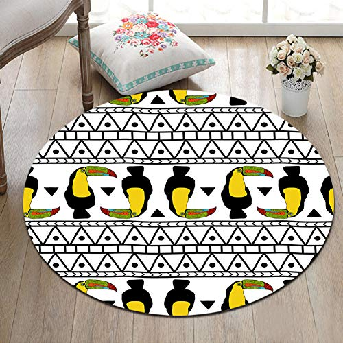 DXSERCV Teppich Toucan Birds Geometric Rutschfester Runder Teppich Für Kinder Zu Hause Wohnzimmer Schlafzimmer Badezimmer Bürobereich Teppich