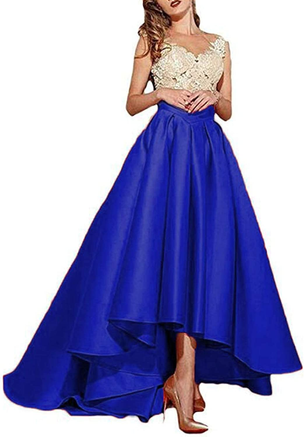 Alilith.Z Sexy Lace Appliques Prom Dresses High Low Formal Evening Dresses Party Gowns for Women
