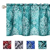 KEQIAOSUOCAI Vintage Retro Flower Damask Green Valances for Windows Bathroom Living Room Topper Curtains 16 Inch Length Waterproof Valance for Bedroom 1 Panel 50x16