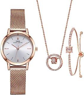 Women Watches Sets Gifts for Women Mom Wife Quartz Wrist Watch Necklace Bracelet Set