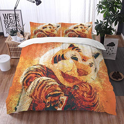 bedding - Duvet Cover Set, Bed Sheets Bedding,Who Dey Mascot Cincinnati Bengals Flame Art Orange Background Tiger Grunge Art Symbol Splashes,1 Duvet Cover Set 135 * 200+2 pillowcase 50x80cm