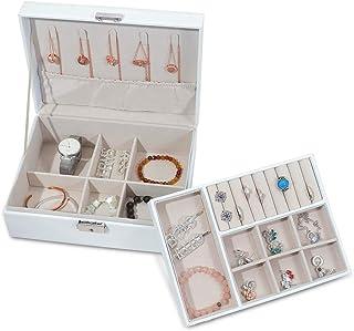 Joyero para mujer, grande, color blanco, joyero de 2 niveles con llave, joyero de piel sintética para anillos, pendientes, collares, pulseras y agujas para el pelo