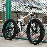 Adulto Fat Bike Bicicleta De Montaña,Outroad Racing Cycling Bicicleta De Montaña Plegable Hombres Y Mujeres,Bicicleta De Trekking Freno De Disco Doble Outroad Mountain Bike A -7 Velocidad -20 Inch