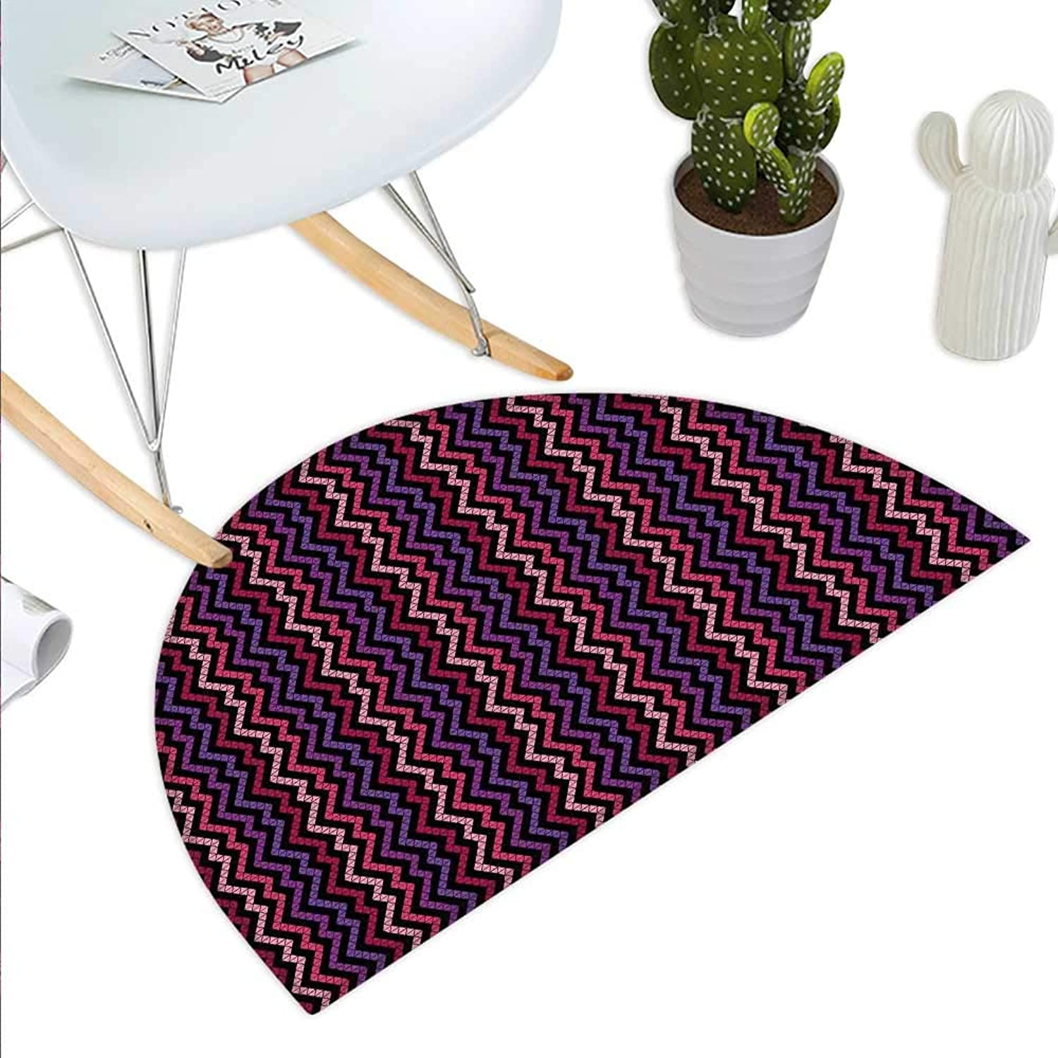 Modern Semicircle Doormat Tile Like Striped Squared Zig Zag Lines Details with Rainbow colors Artistic Image Halfmoon doormats H 23.6  xD 35.4  Multicolor