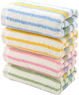 TOPBATHY 4pcs/Set Colorful Striped Cotton Hand Towels Absorbent Face Towels Quick Dry Washcloth for Household(Yellow, Pink, Blue and Green)
