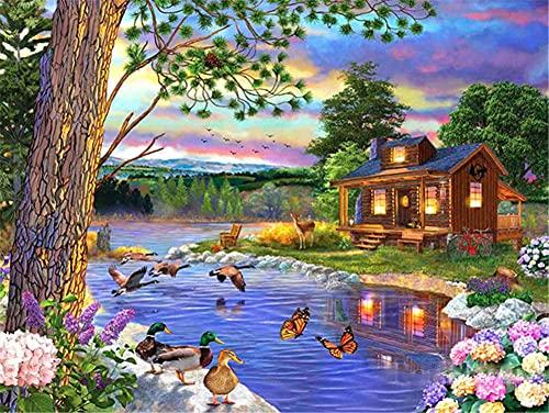 5D DIY Pintura de Diamante, Round Drill Bicicleta Flower Lake House 100x150cm Diamond Painting Rhinestone Bordado de Punto de Cruz Lienzo Artes Manualidades Decoración de Pared del Hogar