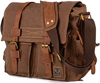 Leather Bag Mens Coffee Medium Fashion one Shoulder Canvas Bag Men's Casual Fashion Appearance Shopping Business Travel High Capacity (Color : Brown, Size : S)