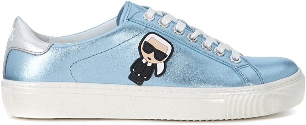 Karl lagerfeld,scarpe sneakers per donna, in pelle laminata,con logo laterale,NUMERO 40 EU kl61033