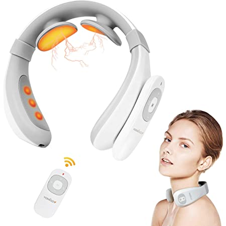 Neck Massager with Heat, Pain Relief, Cordless Intelligent Neck Massager, 6 Modes 15 Levels Portable Deep Tissue Trigger Point Massager, Gifts for Women Men, Home, Outdoor, Office use