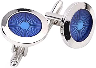 Bullidea 1 Pair Fashion Men's Cufflinks Fashion Round Eyes Shirt Cufflinks Cuff Links Mens Dress Business Wedding Cufflinks Gift Present(Silver)