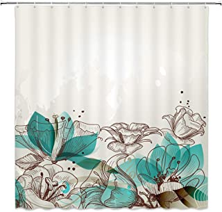 WZFashion Turquoise Decor Shower Curtain Set, Retro Floral Background with Hibiscus Silhouettes Dramatic Romantic Nature Art, Bathroom Accessories, Beige Teal…