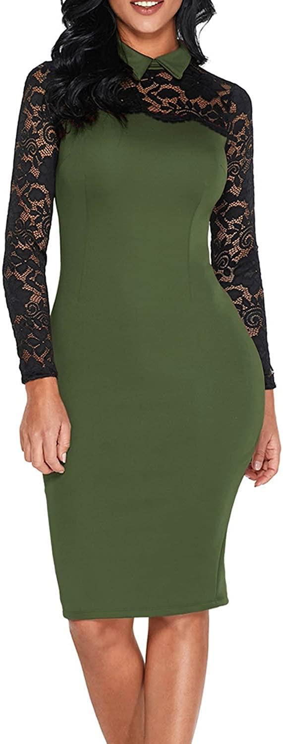 Elapsy Womens Black Lace Long Sleeve Doll Collar Bodycon Evening Party Midi Dress