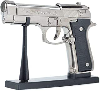 URN Antique Red Flame Metal Body Steel Heavyweight 9MM Refillable Revolver Gun Shape Cigarette Gas Lighter with Stand