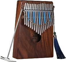 ammoon Kalimba 17-Key Pulgar Piano Mbira Sanza Hawaiana Madera Sólida Koa con Bolsa de Transporte Libro de Música Pegatinas a Escala Musical Martillo de Ajuste Regalo Musical AKP-17K (17 claves)