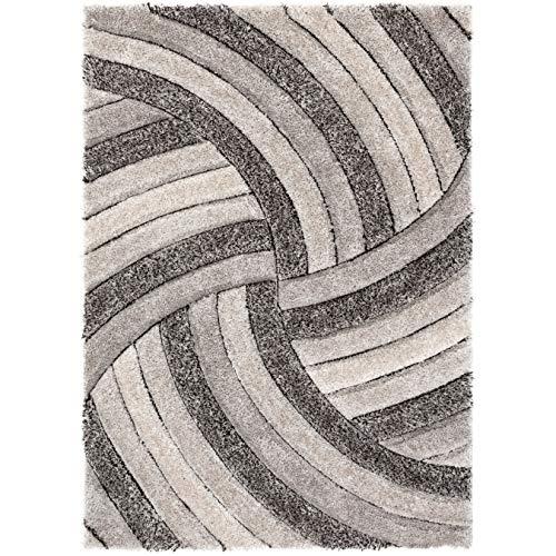 """Well-gewebter Teppich mit geometrischen Streifen, weich, 3D-Struktur, Hellblau Modern 5\'3\"""" x 7\'3\"""" Streifen grau"""